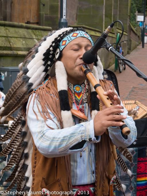 American Indian Pan Pipe Musician